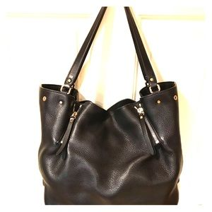 Authentic Burberry Canterbury black leather tote